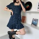 牛仔洋裝 春夏新款網紅方領豹紋藍色牛仔連身裙a字修身顯瘦可甜可鹽裙子女