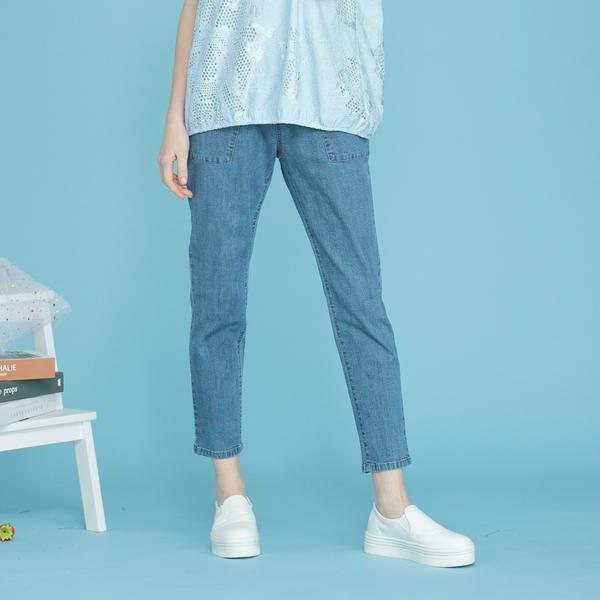 【中大尺碼】MIT字母繡花牛仔八分褲