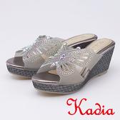 kadia.華麗蝴蝶水鑽楔型厚底拖鞋(9605-88灰色)