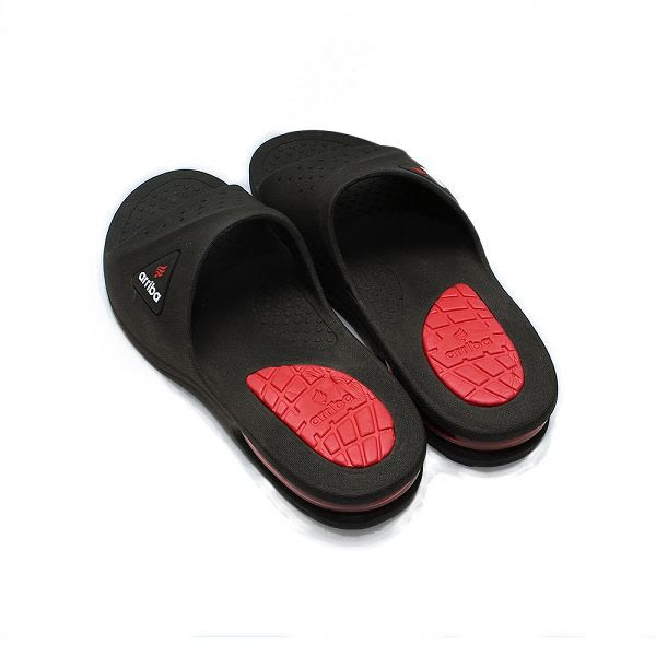 ARRIBA 套式氣墊拖鞋 黑紅 男