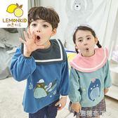 寶寶棉布畫畫衣防水透氣反穿衣兒童秋冬圍裙男童女童吃飯罩衣圍兜  一米陽光