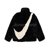 Nike 外套 NSW Faux Fur Jacket 黑 白 女款 羔羊外套 絨毛 運動休閒 【ACS】 CU6559-010