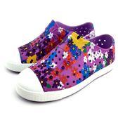《7+1童鞋》小童 Native JEFFERSON PRINT 防水 懶人 洞洞鞋  6053 紫色