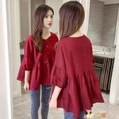 蓬蓬娃娃衫夏季韓版寬鬆大碼遮肚子洋氣短袖棉麻襯衫女半袖上衣 HX5271