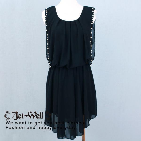 洋裝 珍珠氣質雪紡洋裝3c5114 現貨 JET-WELL