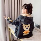 女童牛仔外套秋冬裝2021新款韓版加絨加厚兒童裝女孩冬季洋氣上衣