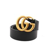 【GUCCI】大雙G霧金logo牛皮皮帶(黑色) 400953 AP00T 1000
