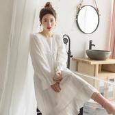 夏季可穿薄款仙女純棉長袖睡裙女春秋天蕾絲宮廷公主風長裙子睡衣