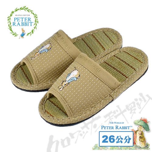 【クロワッサン科羅沙】Peter Rabbit 雪點素邊草蓆室內拖鞋 (棕色26CM)