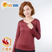 UV100 防曬 抗UV 石墨烯遠紅蓄熱舒毛V領上衣-女