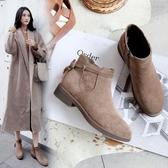 裸靴靴子女短靴秋冬新款棉靴平底粗跟英倫流蘇裸靴女韓版百搭女鞋618購