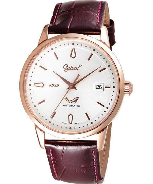 Ogival 愛其華 五星上將經典機械腕錶-玫塊金 1929-24AGR皮