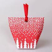 【BlueCat】聖誕節紅底繽紛雪花星星聖誕樹禮物盒 餅乾盒 西點盒 糖果盒