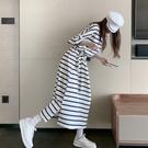 夏季韓版短袖收腰顯瘦洋裝遮肚大碼女裝條紋純棉長裙過膝T恤裙