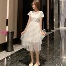 MG 短袖T恤連身裙 假兩件拼接網紗蛋糕裙 色(S-XL)