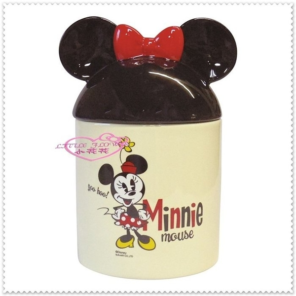 小花花日本精品♥ Hello Kitty 米妮大朵置物罐 陶瓷萬用罐 筷架 容器糖罐 餅乾罐56859607