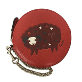 【COACH】經典LOGO牛皮星座圓形零錢包(牡羊座紅)