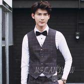 韓版格子背心 時尚西服馬甲 修身結婚薄款英倫風休閒西裝