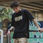 嘻哈潮流t恤男短袖街頭個性複古半袖學生潮寬松蝙蝠衫