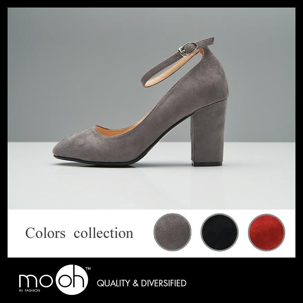 高跟鞋  黑色高跟鞋 春季 韓版一字扣帶絨面淺口圓頭粗跟高跟鞋 mo.oh (韓國鞋款)