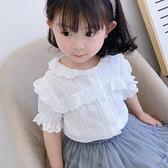 *╮小衣衫S13╭*女童夏季蕾絲花邊公主袖白襯衫1090507
