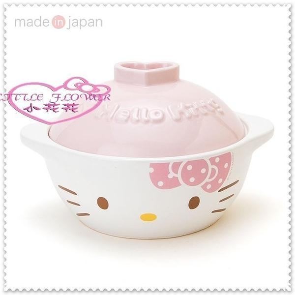 小花花日本精品♥ Hello Kitty 日本製 美濃燒 陶瓷砂鍋 陶瓷鍋 貓臉 粉點點11085003