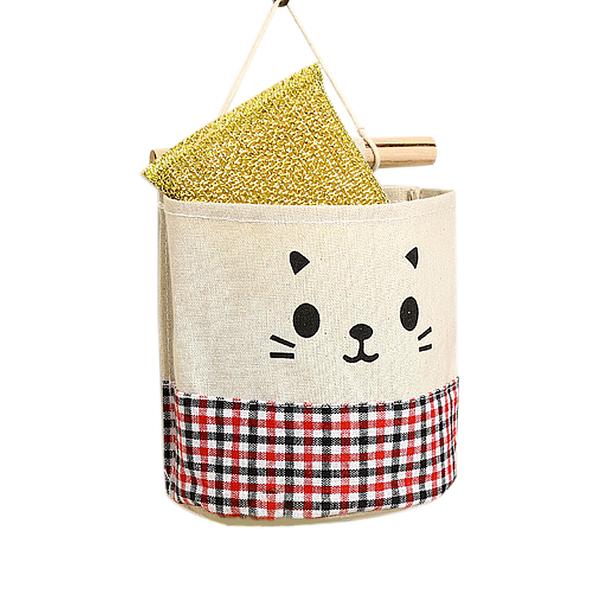[7-11今日299免運]貓咪棉麻卡通組合掛袋 儲物掛袋 整理袋 收納掛袋(mina百貨)【F0275】