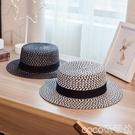 熱賣平頂帽黑白鏤空平頂草帽女夏天沙灘帽海邊度假英倫禮帽遮陽防曬出游潮帽 coco