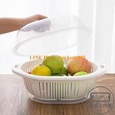日式創意廚房雙層洗菜盆瀝水籃塑料大號帶蓋菜籃子家用客廳水果盤