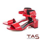 TAS 異材質拼接格紋繫帶粗跟涼鞋-熱情紅