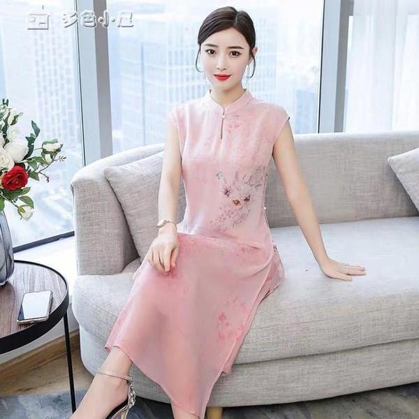 休閒洋裝改良旗袍式連身裙21年夏季新款大碼優雅寬鬆中國風女裝唐裝 快速出貨