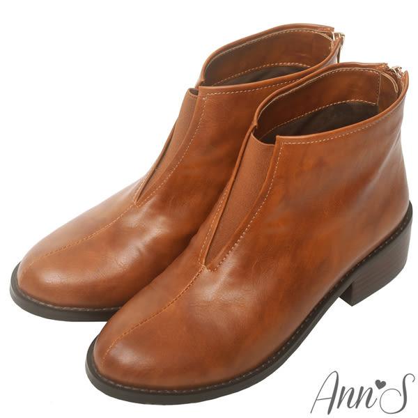 Ann'S漫步左岸-前V鬆緊復古皮革平底短靴-棕