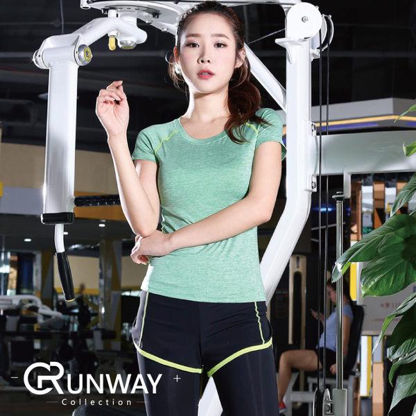 【R】運動 短袖 T恤 圓領 速乾 健身 跑步 運動 瑜伽 上衣 假兩件 運動長褲 緊身 兩件套