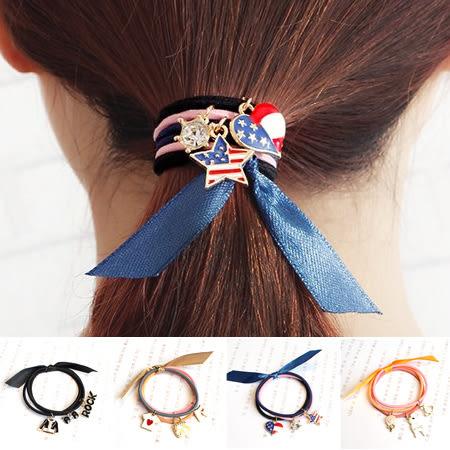 韓版 水鑽吊飾造型髮束 多款可選 美國風 搖滾 手環 髮飾 髮圈 髮繩 橡皮筋