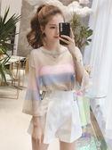 夏季新款寬鬆套頭亮絲彩色條紋防曬針織衫女學生薄款罩衫上衣  蓓娜衣都