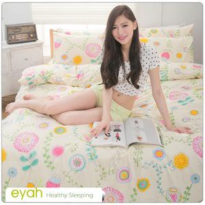【eyah】台灣製205織紗精梳棉單人床包組-早春花樣