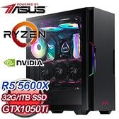 【南紡購物中心】華碩系列【龍氣劍】AMD R5 5600X六核 GTX1050Ti 電玩電腦(32G/1T SSD)