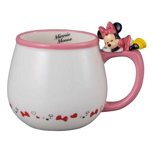 小禮堂 迪士尼 米妮 造型陶瓷馬克杯 咖啡杯 茶杯 陶瓷杯 340ml (粉白 杯邊玩偶) 4942423-25843