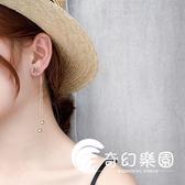 耳環  鈦鋼飾品韓版氣質花朵耳釘女簡約長款流蘇耳墜顯臉瘦的耳環個性潮  奇幻樂園