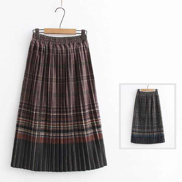 *ORead*韓版鬆緊高腰顯瘦彩格紋百褶半身裙(2色F碼)