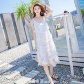 沙灘裙海南三亞海邊度假長裙仙女洋裝吊帶長款超仙甜美chic溫柔 「米蘭街頭」