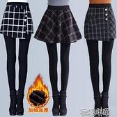 假兩件褲秋冬大碼女士加絨加厚假兩件打底褲外穿黑色踩腳長褲顯瘦高腰 快速出貨