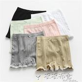 夏季韓版白色內搭安全褲女防走光打底短褲內褲打底褲蕾絲花邊夏天