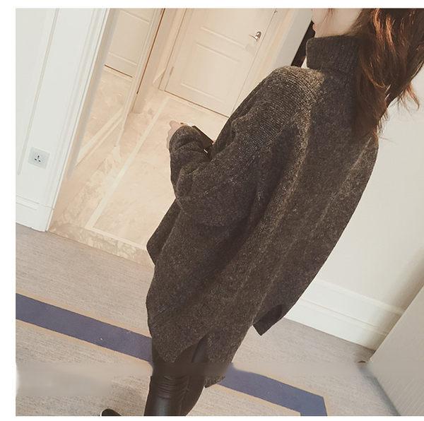長袖毛衣高領長袖毛衣 素色寬鬆蝙蝠袖加厚高領開叉毛衣 艾爾莎【TAE3048】