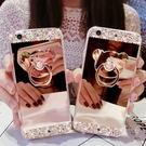 蘋果 iPhoneX XR XS Max iPhone8 Plus i7 i6S 手機殼 保護殼  支架 指環 全包 軟殼 水鑽 小熊水鑽鏡面殼