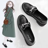 黑色ins小皮鞋復古單鞋春款平底新款學院英倫風學生百搭女鞋 「米蘭街頭」