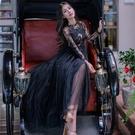 洋裝-長袖黑色鏤空蕾絲亮片女連身裙73pu87【巴黎精品】