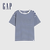 Gap男童 純棉質感厚磅短袖T恤 764972-藍色條紋