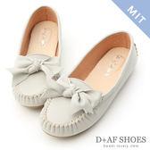 D+AF 可愛印象.MIT立體蝴蝶結莫卡辛豆豆鞋*灰