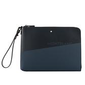【MONT BLANC】Extreme風尚系列2.0 拼色中款手拿包(黑色/藍色) 128610